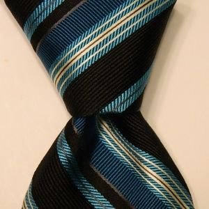 IKE BEHAR Mens Silk Necktie STRIPE Turquoise/Black
